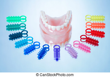 Dentures surrounded by multicolored orthodontic ligature...