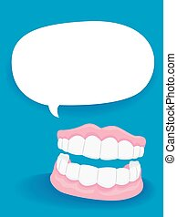 Dentures with Blank Speech Bubble - Vector Illustration of...