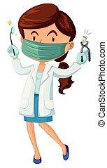 dentysta, narzędzia, samica, ząb