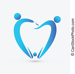 dentystyka, wektor, rodzina, ikona