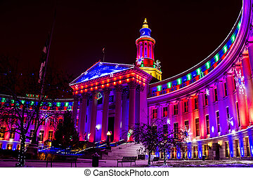 Denver City and County Building Holiday Lights - Denver...