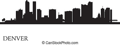 Denver city skyline silhouette background. Vector illustration