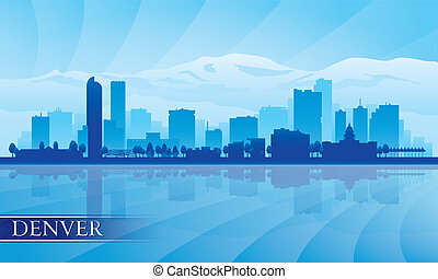 Denver city skyline silhouette background. Vector ...