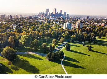 denver, cityscape, antenowy prospekt, z, miasto, park