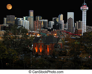 Denver city buildings at night