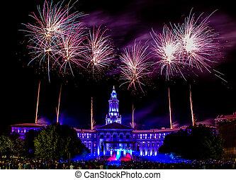denver, co, 4 av juli, fireworks