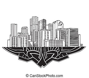 Denver, CO Skyline. Black and white vector illustration EPS...