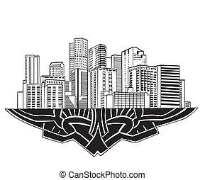 Denver, CO Skyline. Black and white vector illustration EPS...
