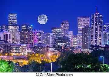Denver Colorado at Night. Denver Downtown Skyline and the...