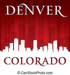 Denver Colorado city skyline silhouette red background