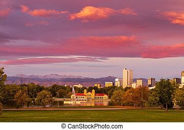 denver, colorado, contorno, de, parque de la ciudad