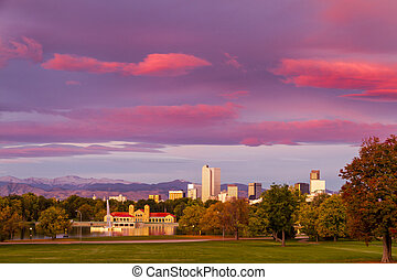 Denver Colorado Skyline from City Park