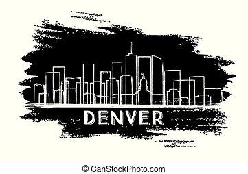 Denver Colorado USA City Skyline Silhouette.