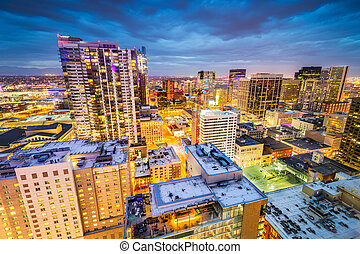 Denver, Colorado, USA downtown cityscape rooftop view at dusk