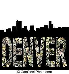 Denver grunge text with skyline