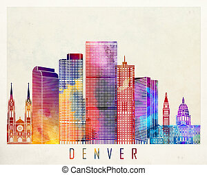 Denver landmarks watercolor poster