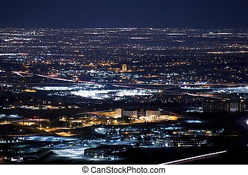 Denver Metro Area at Night. Urban Panorama