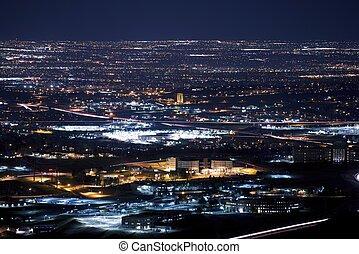 Denver Metro Area at Night. Urban Panorama