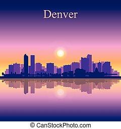 denver, miasto skyline, sylwetka, tło