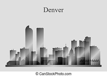 denver, miasto skyline, sylwetka, w, grayscale
