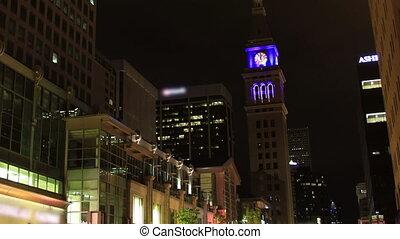 Denver nightlife time lapse pull