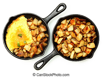 Denver Omelette and Ranch Potatoes in Cast Iron Skillet...