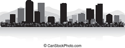 denver, perfil de ciudad, silueta
