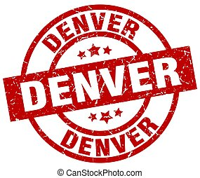 Denver red round grunge stamp