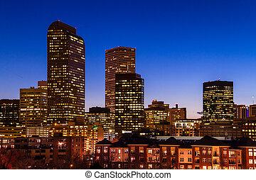 Denver Skyline at Blue Hour Mar 2013 - Close up of Denver...