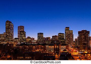 Denver Skyline at Blue Hour Mar 2013 - Denver Colorado...