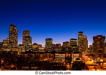 Denver Skyline at Blue Hour Mar 2013