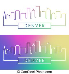 denver, skyline., barwny, linearny, style.