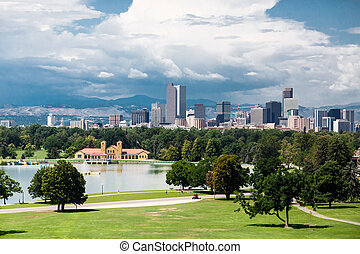 Skyline of Denver, Colorado Beyond a Green Park