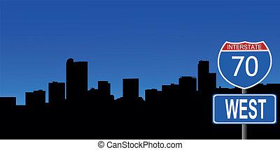 Denver skyline interstate sign