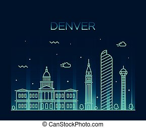 Denver skyline trendy vector illustration linear