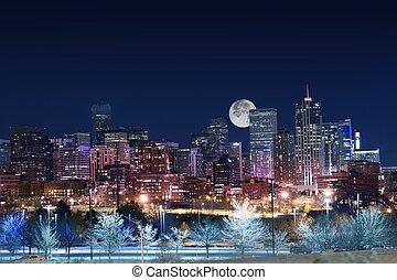 Denver Skyline West Side. Night in Colorado. Downtown Denver...