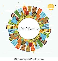 Denver Skyline with Color Buildings, Blue Sky and Copy Space.