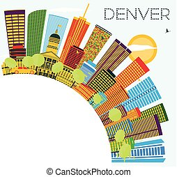 Denver Skyline with Color Buildings, Blue Sky and Copy Space.
