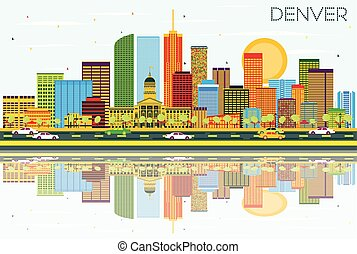 Denver Skyline with Color Buildings, Blue Sky and...