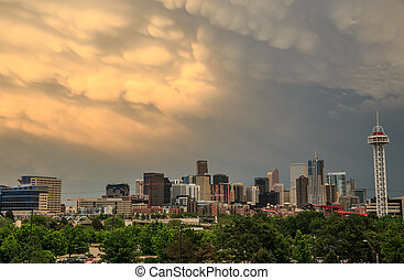 Denver Skyline With Dramatic Clouds