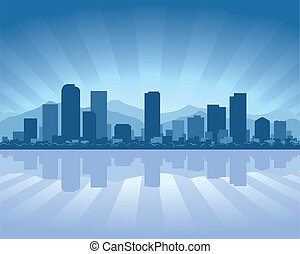Denver skyline with reflection in water