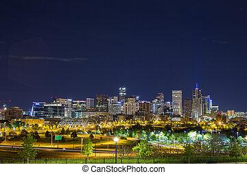 denver, stadtzentrum, panorama, colorado