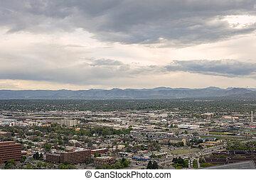 Denver suburbs and Rocky mountains in Colorado, USA