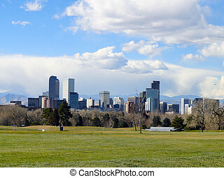 Denver - The Mile High City - Denver skyline as seen from a...