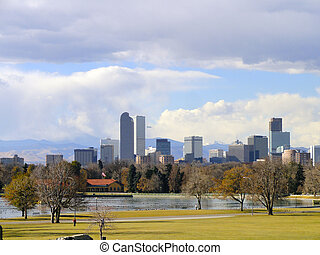 Denver skyline as seen from a golf course