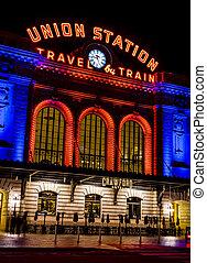 Denver Union Station in Orange and Blue