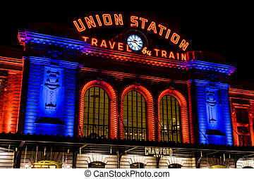 Denver Union Station in Orange and Blue - DENVER COLORADO / ...