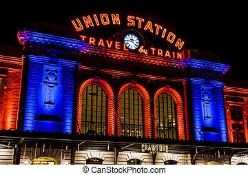 Denver Union Station in Orange and Blue - DENVER COLORADO /...
