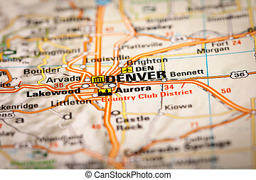 Map Photography: Denver City on a Road Map