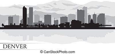 denver, város égvonal, árnykép, háttér